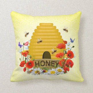 Beekeepers Beehive and Honey Pot Throw Pillow