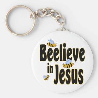 Beelieve in Jesus Black Basic Round Button Key Ring