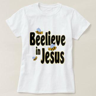 Beelieve in Jesus Black T-shirts