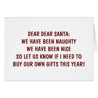 BEEN NAUGHT/NICE-LET'S GET TOGETHER CHRISTMAS GREETING CARD