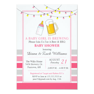 Beer and Baby Shower Invitation Pink
