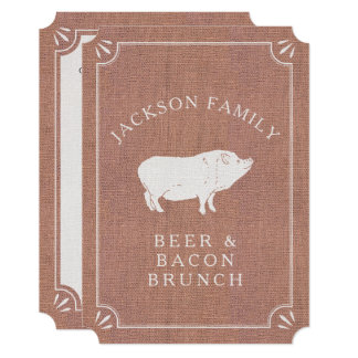 Beer and Bacon Brunch Vintage Pig Country Rustic 13 Cm X 18 Cm Invitation Card