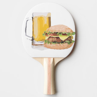 beer and burger ping pong paddle