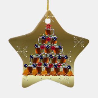 Beer and Chips Ceramic Star Decoration
