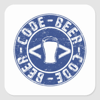 Beer And Code Programmer Square Sticker