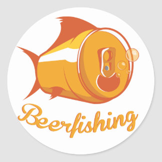 Beer and Fishing Classic Round Sticker