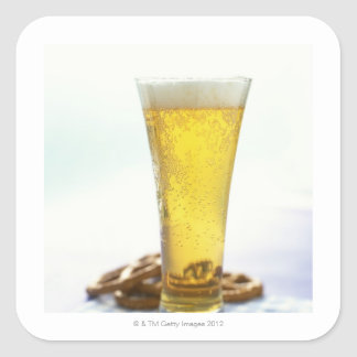 Beer and pretzels square stickers