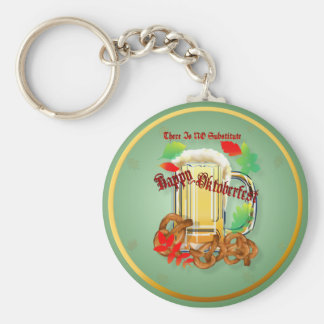 Beer and Pretzels-There is NO substitute. Keychai Basic Round Button Key Ring