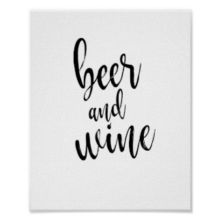Beer and Wine Black and White 8x10 Wedding Sign
