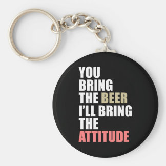 Beer, Attitude Basic Round Button Key Ring