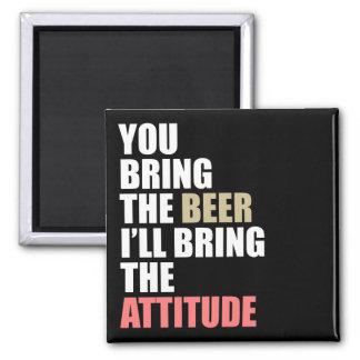 Beer, Attitude Square Magnet
