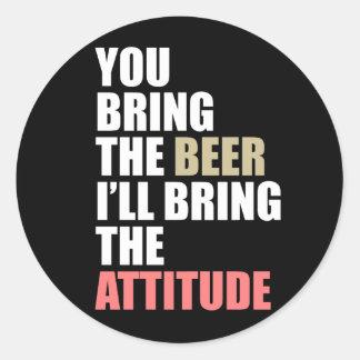 Beer, Attitude Round Sticker