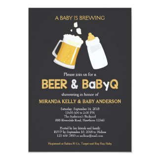 Beer & BabyQ Baby Shower Invitation, Bbq Invite