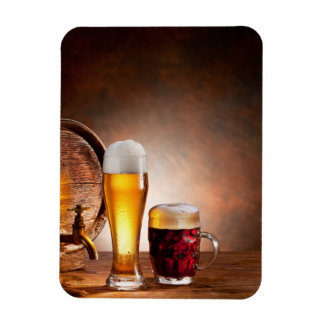 Beer barrel with beer glasses on a wooden table 2 rectangular photo magnet