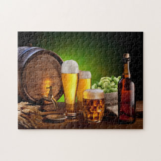 Beer barrel with beer glasses on a wooden table puzzles