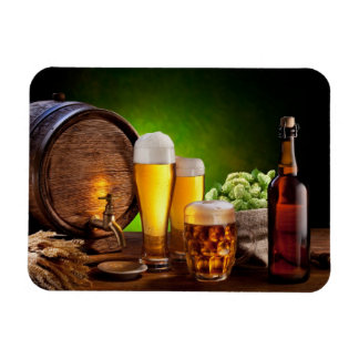 Beer barrel with beer glasses on a wooden table rectangular photo magnet
