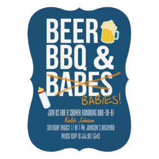 Beer BBQ Babes Babies Dad s Baby Shower Invite Custom Announcements