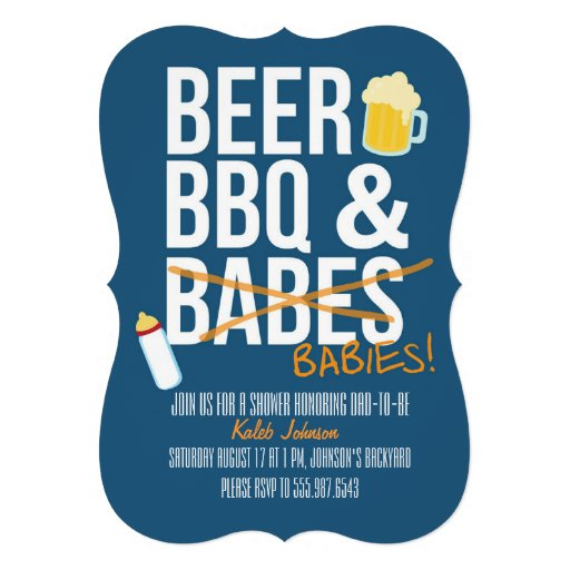 Beer, BBQ & Babes Babies Dad's Baby Shower Invite Custom Announcements