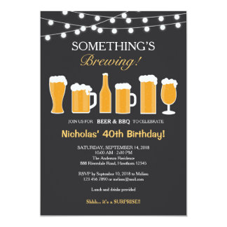 Beer Birthday Invitation, Adult Birthday 13 Cm X 18 Cm Invitation Card