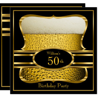 Beer Black Gold Birthday Party Invitation 2