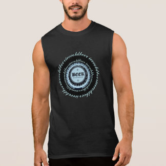 BEER! Bottle Cap Blue Circle Sleeveless Shirt