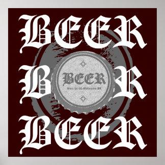BEER! Bottle Cap, Grey & White on Burgundy Red Poster