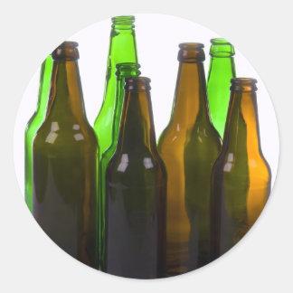 beer bottles round sticker