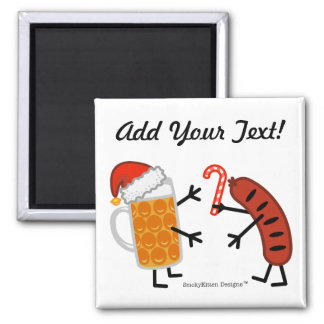 Beer & Bratwurst - Christmas (Customizable) Refrigerator Magnet