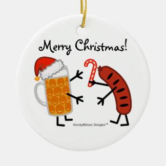 Beer & Bratwurst - Merry Christmas! (customisable) Ceramic Ornament