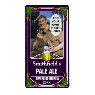 Beer Brewer Custom Photo Purple Homebrewing Bottle Shipping Label