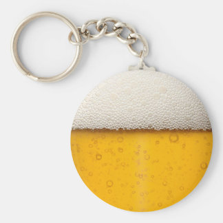 Beer Bubbles Close-Up Basic Round Button Key Ring
