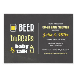 Beer Burgers & Baby Talk, Baby Shower Invitation