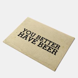 Beer BYOB Party Vintage Inspired Humourous Doormat
