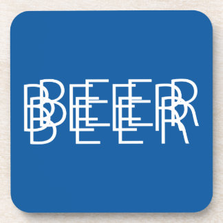 BEER Double Vision - Blue and White Drink Coasters