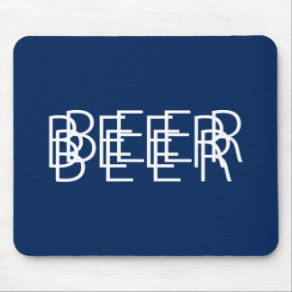 BEER Double Vision - Navy Blue and White Mouse Pad