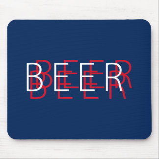 BEER Double Vision - Navy Blue Red White Mouse Pad