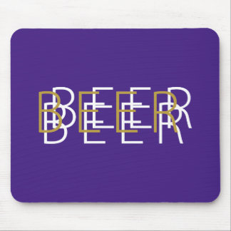 BEER Double Vision - Purple Gold and White Mouse Pad