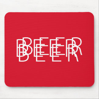 BEER Double Vision - Red and White Mouse Pad