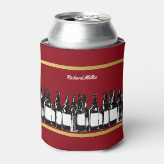 beer drinker can cooler with the image of bottles