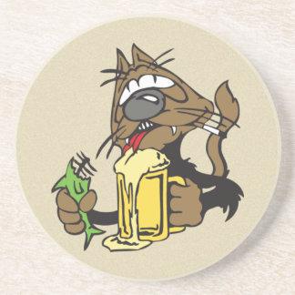 beer drinking cat coaster