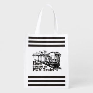 Beer drinking humor here come da fun train reusable grocery bag