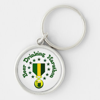Beer Drinking Marathon Silver-Colored Round Key Ring