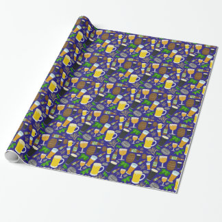 Beer Glass Bottle Hops and Barley Pattern 2 Wrapping Paper