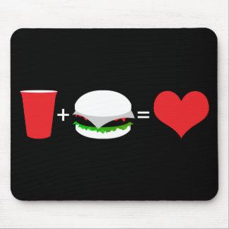 beer + hamburger love mouse pad