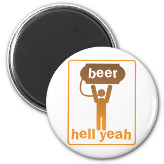beer hell yeah! 6 cm round magnet