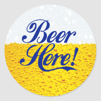 Beer Here! Classic Round Sticker