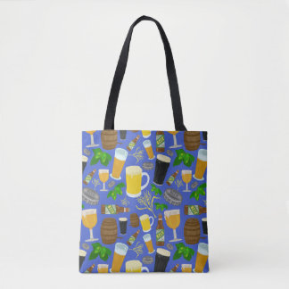 Beer Hops Barley Glasses Bottles Brewer Pattern Tote Bag