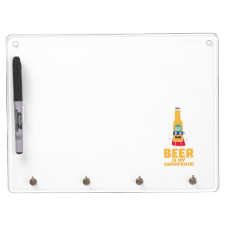 Beer is my superpower Zync7 Dry Erase Board With Key Ring Holder