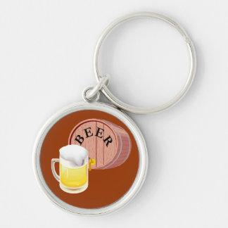Beer keg and beer stein Silver-Colored round key ring