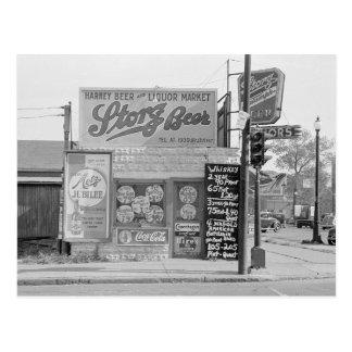 Beer & Liquor Market, 1938 Postcard